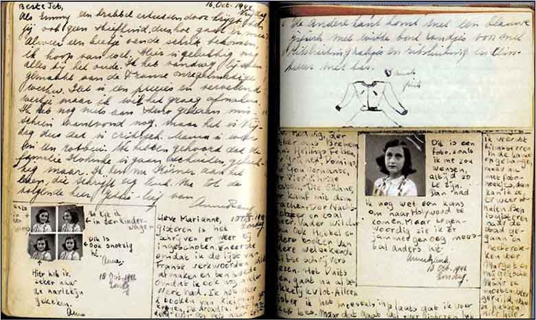 ane frank Anne frank's diary, particularly these sentences, became one of the central symbols of the holocaust and of humanity faced with suffering: the strength of spirit that led a young girl to write such words after two years of imprisonment hidden in a small, crowded attic, decreed on her by senseless evil and the opening which her words offer for a new era of hope and reconciliation after a.